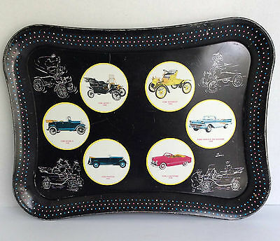 Vintage Ford Car Advertising Metal Tray with 6 Photos of Early Fords 1900's-1950