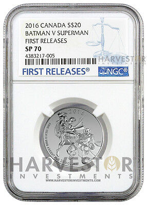 2016 Batman V Superman: Dawn Of Justice $20 1/4 Oz. - Ngc Sp70 First Releases