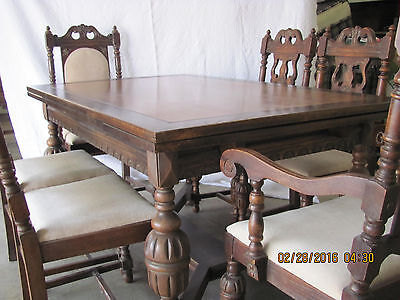 Antique Jacobean dining set (table with chairs, side board & hutch)