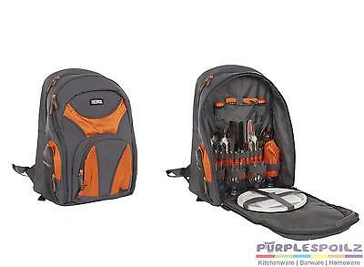 NEW THERMOS 4 PERSON BACKPACK Insulated Cooler Picnic Cutlery Cooler ORANGE GREY