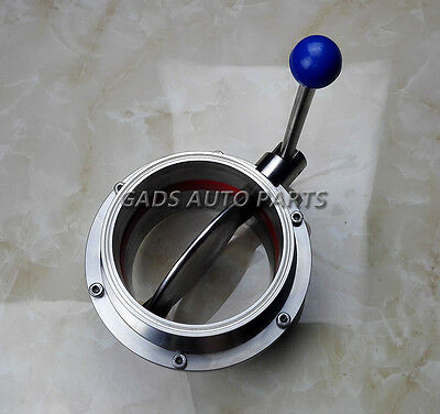"""4""""/102mm Sanitary Stainless Steel TriClamp Butterfly Valve Silicone Seal, SS304"""