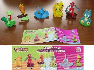SET 6 Figure POKEMON BUILDABLE Deoxys Pikachu Torchic Mudkip RARE Tomy FIGURES