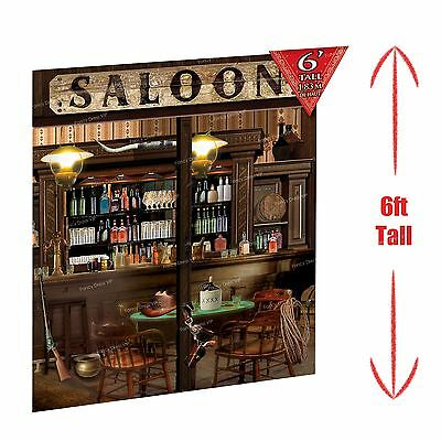 6ft Saloon Bar Cowboy Western Scene Setter Decoration Wild West Hat Guns 3 Piece