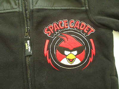 "Boy's Sz 4 Angry Birds ""Space Cadets"" Embroidered Black Fleece Zip Jacket NWT"