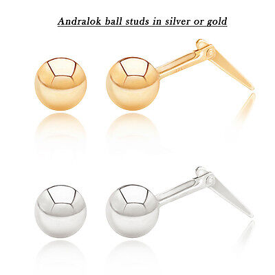 9ct gold or sterling silver 2.5mm - 5mm Andralok ball studs / stud earrings