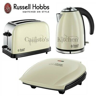 Russell Hobbs Kettle and Toaster Set + George Foreman 5 Portion Grill Cream New