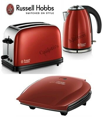Russell Hobbs Kettle and Toaster Set + George Foreman 5 Portion Grill Red New