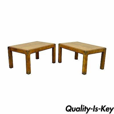 Pair of Vintage Henredon Artefacts Oak & Brass Campaign Parsons Style End Tables
