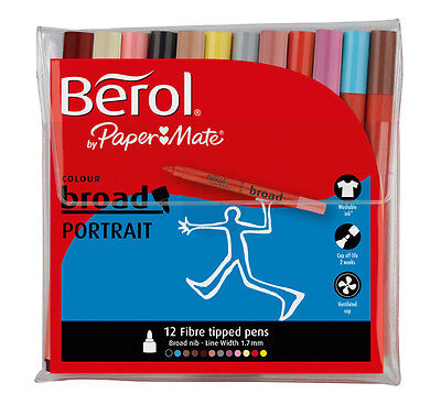 Berol Colour Broad PORTRAIT Pen Set - 12 Fibre Tipped Pens - Assorted Colours