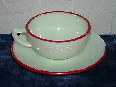 Laurel Children's Toy Cup and Saucer with Red Trim As Is #2