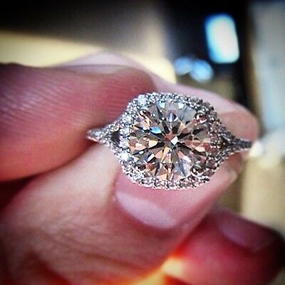 1.80 Ct.  Round Cut Halo Diamond Engagement Ring - GIA Certified & Appraised