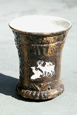 Antique Stag Relief Chocolate Milk Glass Bathroom Drinking Cup c. Late 1800's