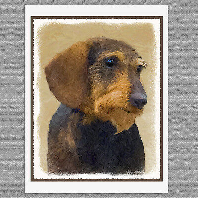 6 Dachshund Wirehaired Black and Tan Dog Blank Art Note Greeting Cards