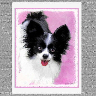 6 Papillon White and Black Dog Blank Art Note Greeting Cards