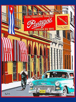 Cuba Partagos Tabacos de Fabrica Cigars Caribbean Travel Advertisement Poster