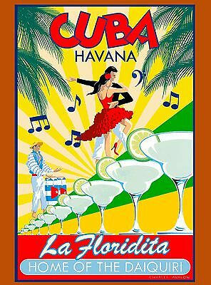 Cuba Cuban Havana Floridita Daiquiri Caribbean Travel  Advertisement Poster