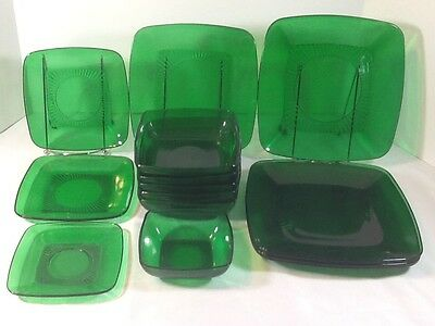 Anchor Hocking Fire King Charm Forest Green Dishes Bowls Plates Saucers