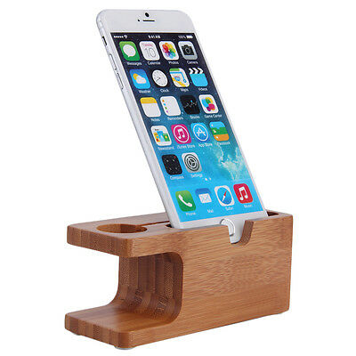 Bamboo Wood Charging Station Charger Dock Stand Holder For Apple Watch Phone UR