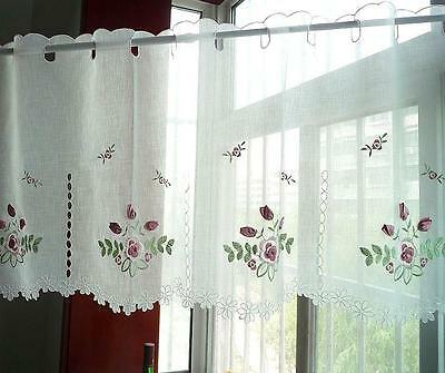 Again!! Pretty Pink 3D Rose Embroidery Cutwork Floral Border Sheer Cafe Curtain