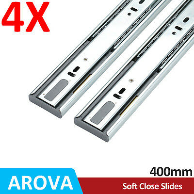 4 Pairs Full Extension Soft Close Ball Bearing Drawer Runner Slides 400mm DR03S
