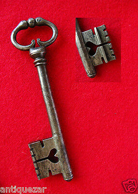 "Rare Long French ""Frog Legs"" Bow 1700's Old Skeleton Key w/ Heart Cut In The Bit"