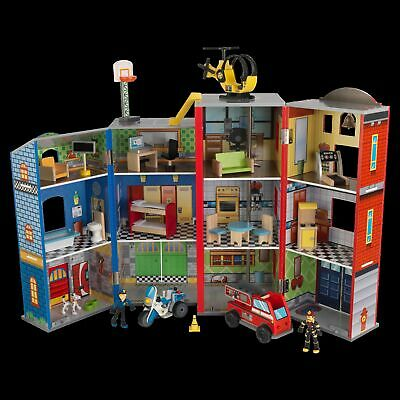 NEW Everyday Heroes Police and Fire Station Wooden Play Set
