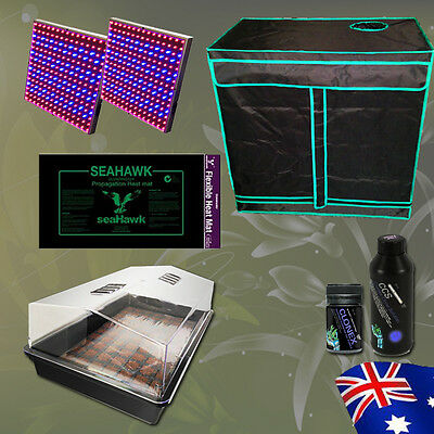 Hydroponics Cloning Kit Grow Tent 77 Cell Cocopeat Dome Heat Mat LED Grow Light