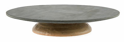 NEW Marble Lazy Susan On Mango Wood Swivel Base