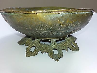 Antique Old Islamic Palestine Plate Bronze Brass 19th Century
