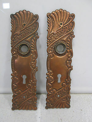 "2 Antique Eastlake Style Brass Door Backplates 8"" x 2"""