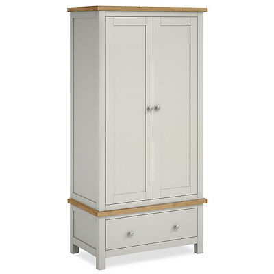 Farrow Grey Wardrobe with Drawer / Solid Wood & Oak Top / Stone Painted Wardrobe