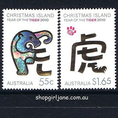 2010 Australia Christmas Island Lunar New Year of the Tiger Zodiac set of 2 -MNH