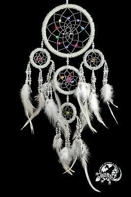 NEW 5 RING NATIVE DREAM CATCHER IN WHITE BEADS MAIN RING 12CM / dcbead12triW