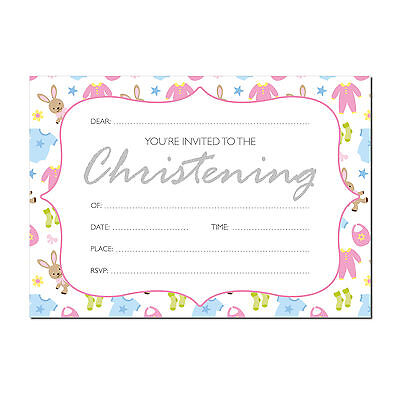 16 A6 Christening Invitations - Cute Baby design - With or without Envelopes