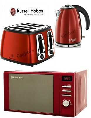 Russell Hobbs Microwave Kettle and Toaster Set Heritage 4 Slot Toaster Red New