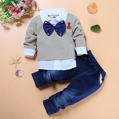 2pcs cotton kids baby boys spring clothes LAYERED-LOOK top + jeans Set Outfits
