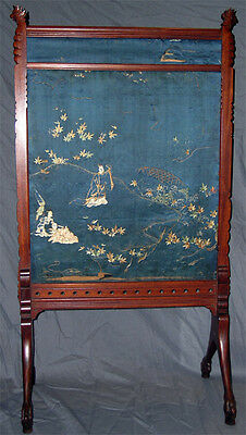 Asian Influennced American Aesthetic Movement Fire-Screen With Parrots