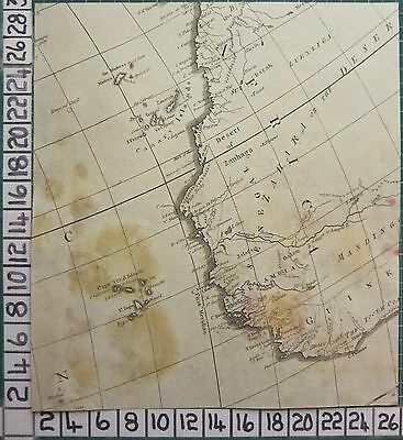 1782 Antique (Part) Map ~ Africa West Guinea Cape Verd Canary Sayer ~ Kitchin