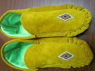 Native American Beaded Moccasins Commercial Tanned Hide Fleece Lined Extra Cozy