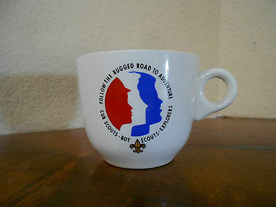 Vintage Cub Boy Scouts Rugged Road To Adventure Explorers Logo USA Mug Cup