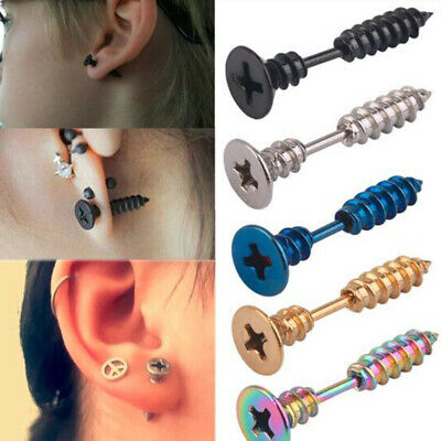 1Par Punk Pendientes Aretes Earrings Mujer Hombre Tornillo acero inoxidable