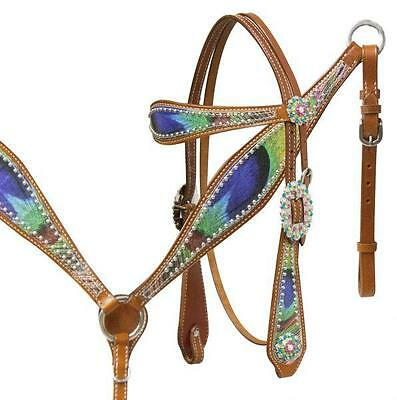 Showman Peacock feather leather headstall and breast collar set. NEW HORSE TACK!