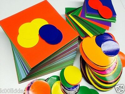 400  Children's Craft Gummed Papers/origami,10 Mixed Colours, 4 Different Sizes