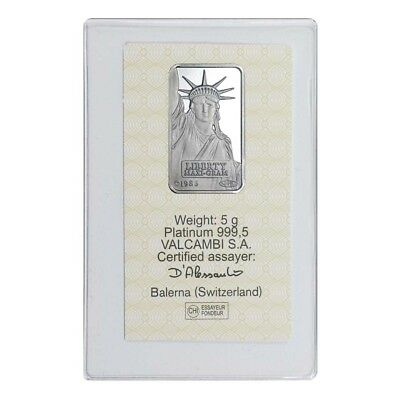 5 gram Credit Suisse Statue of Liberty Platinum Bar .9995 Fine (In Assay)