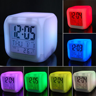 7 LED Colour Changing Digital Alarm Clock Thermometer Date Time Night Light LCD