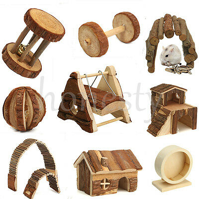 1pc Wooden House Villa Cage Exercise Toy Hamster Hedgehog Mouse Rat Guinea Pig