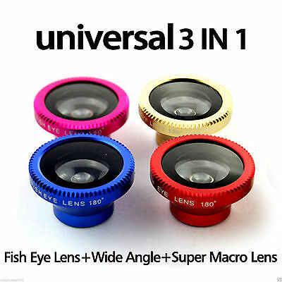 3 in 1 Camera Lens Fish Eye Wide Angle Macro Kit for Apple iPhone 5S 5C iPad Air