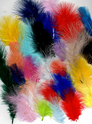 100 Fluffy Marabou Feathers In A Selection Of Colours