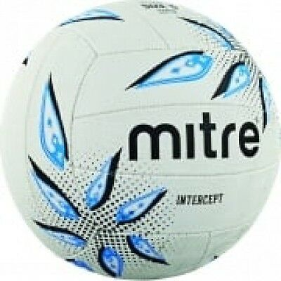 Mitre Intercept Training Netball Size 5 White Black Cyan