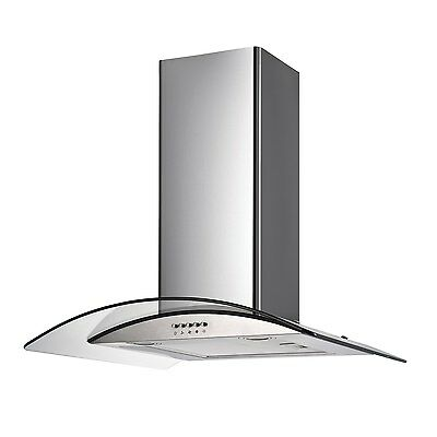 electriQ 80cm Curved Glass Stainless Steel Chimney Cooker Hood Extractor Fan